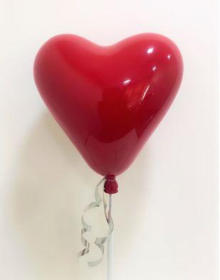 Red heart shaped balloon sculpture by Vernika, Art Deco Sculpture | 3D, Fiber Glass, Pearl Bush color