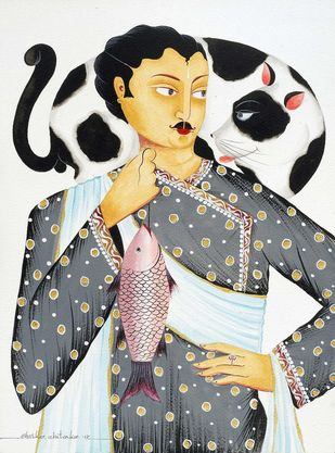 Babu and his Giant Cat - 1 by Bhaskar Chitrakar, Folk Painting, Natural colours on paper, Onyx color