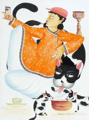 Babu and his Giant Cat - 2 by Bhaskar Chitrakar, Folk Painting, Natural colours on paper, Tuatara color
