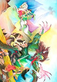 Fairytales by Subhasis Palodhi, Fantasy Painting, Watercolor on Paper, Periglacial Blue color
