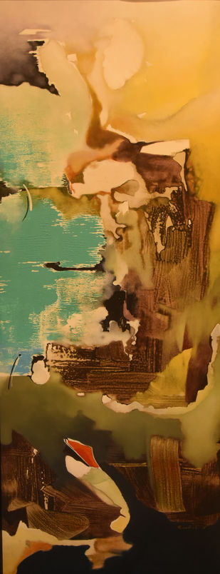 Poetics of Emotions LXVI by Kandan G, Abstract Painting, Acrylic on Board, Di Serria color