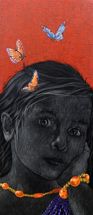 Girl with Butterfly by Deepali S, Fantasy Painting, Oil & Acrylic on Canvas, Mojo color