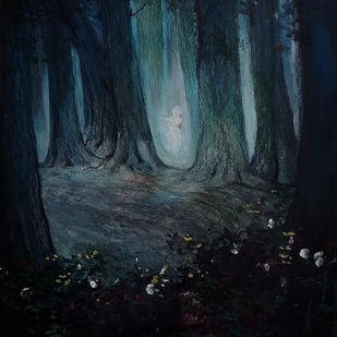 The woods of infinity by Nirmallyo Ghosh, Expressionism Painting, Acrylic on Paper, Bunker color