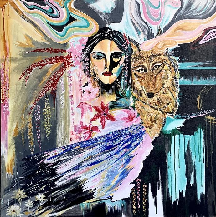 Sync by Neha Kayarkar, Pop Art Painting, Acrylic & Ink on Canvas, Mirage color