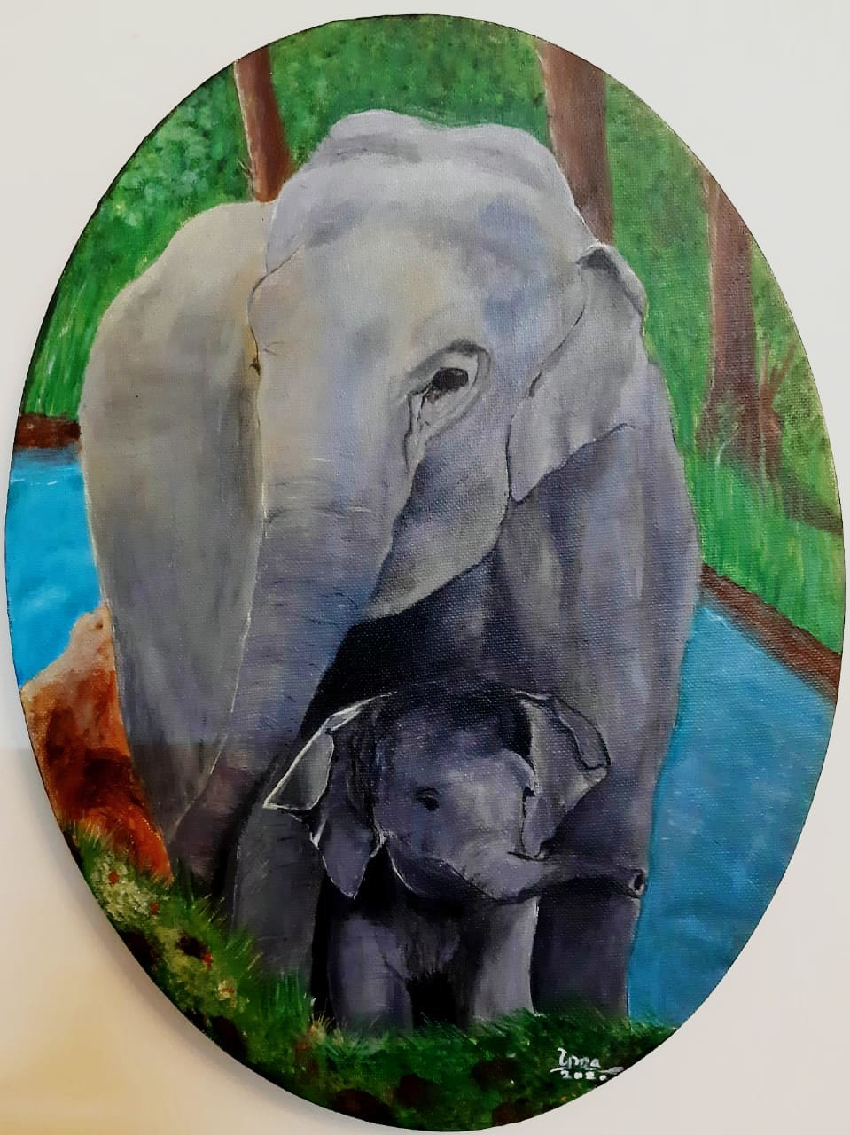 Mom and me by Uma Narayanan, Expressionism Painting, Acrylic on Canvas, Nandor color