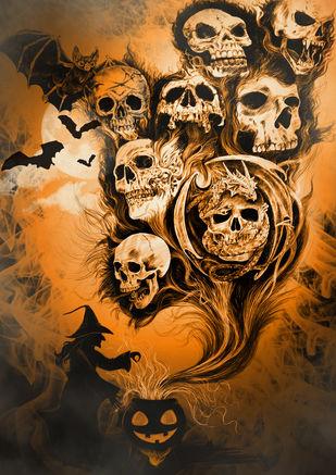 Halloween by SAKSHI CHOKHANI, Expressionism Digital Art, Digital Print on Paper,