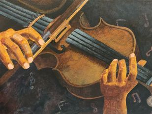 """""""Where words fail, Music speaks"""" by SAKSHI CHOKHANI, Expressionism Painting, Tempera on Board, Armadillo color"""