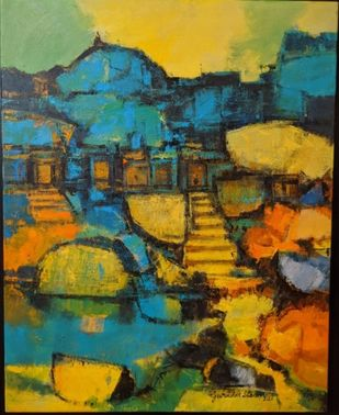 Untitled by Gurudas Shenoy, Abstract Painting, Acrylic on Canvas, Nugget color