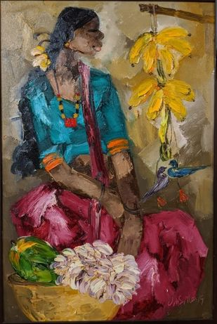 Badami People by J M S Mani, Expressionism Painting, Oil on Canvas, Gold Fusion color
