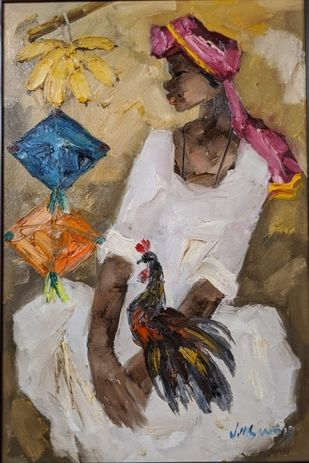 Badami People by J M S Mani, Expressionism Painting, Oil on Canvas, Sandrift color