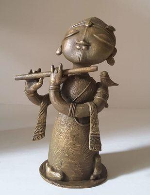 Krishna by Subramanian G, Art Deco Sculpture | 3D, Bronze, Zorba color