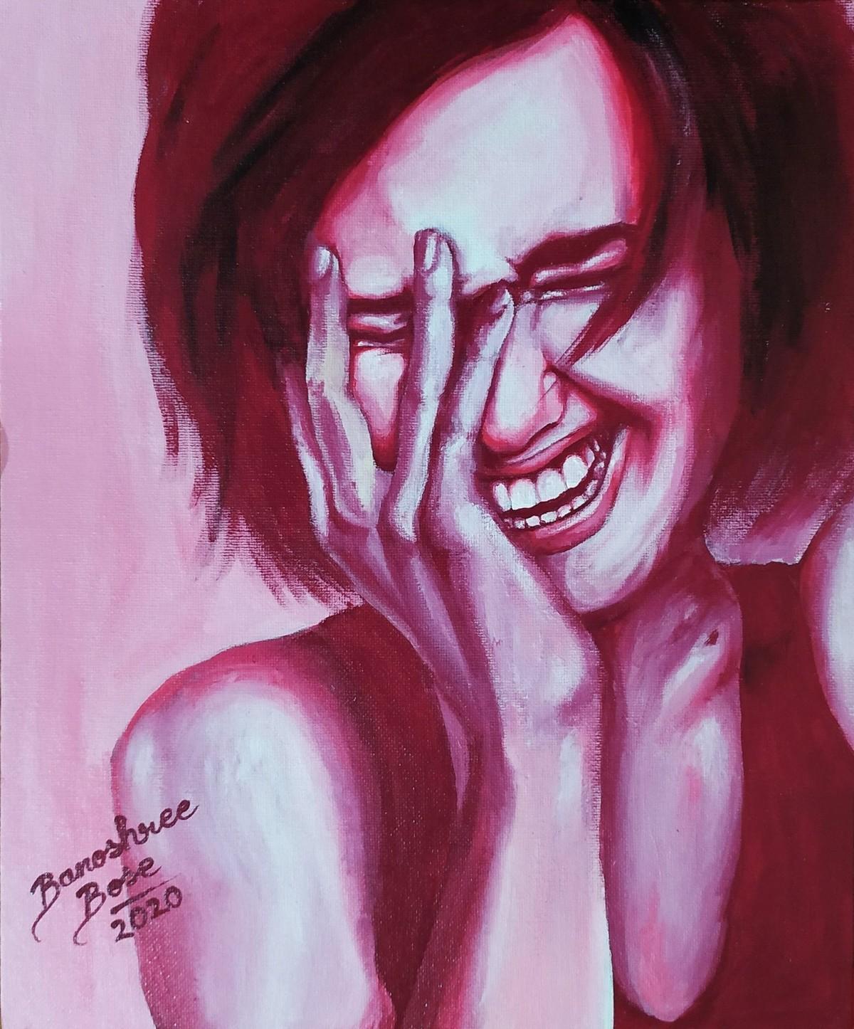 La vie en rose by Banoshree Bose, Expressionism Painting, Acrylic on Canvas, London Hue color