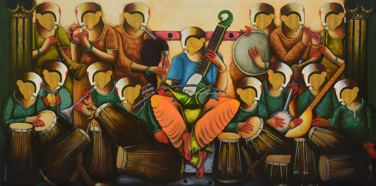 the musical band 10 by anupam pal, Expressionism Painting, Acrylic on Canvas, Aztec Gold color