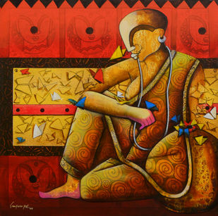 the butterfly whisperer by anupam pal, Expressionism Painting, Acrylic on Canvas, Paco color
