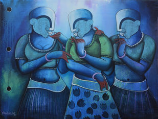 Conversation 30 by anupam pal, Expressionism Painting, Acrylic on Canvas, Astronaut color