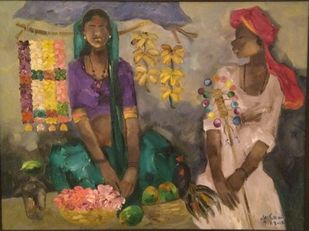 Badami People by J M S Mani, Expressionism Painting, Oil on Canvas, Shadow color