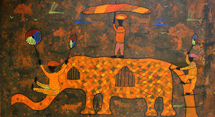 from village to the virtual world by Lakhan Singh Jat, Expressionism Painting, Acrylic on Canvas,