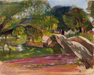 Little Bridge by Samiksha Gupta , Expressionism Painting, Oil on Linen, Yellow Metal color