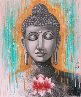 Lord buddha 104 by Babita Maheswary , Expressionism Painting, Acrylic on Canvas, Silver Rust color