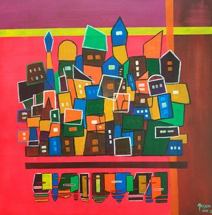 Cityscape by Ahsan Khan, Expressionism Painting, Acrylic on Canvas, Spectra color