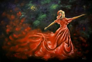 Lady in Red by Ahsan Khan, Impressionism Painting, Oil on Canvas, Tuscany color