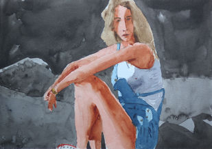 Girl in Cave by Kumar Abhinav, Expressionism Painting, Watercolor on Paper, Abbey color