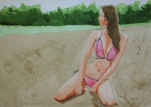 Beach Girl by Kumar Abhinav, Impressionism Painting, Watercolor on Paper, Gurkha color