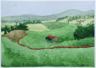 Green Fields by Kumar Abhinav, Impressionism Painting, Watercolor on Paper, Amulet color