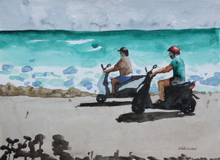 Scooters on the Beach by Kumar Abhinav, Impressionism Painting, Watercolor on Paper, Hit Gray color