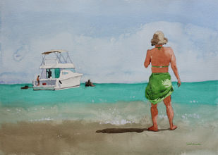 Seaside by Kumar Abhinav, Impressionism Painting, Watercolor on Paper, Hit Gray color
