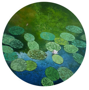 lotus III by Sandeep Ghule, Expressionism Painting, Acrylic on Canvas, Killarney color