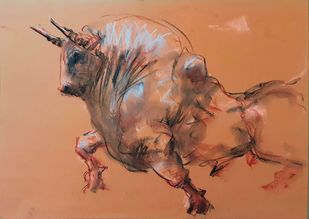 Bull 252 by Saumya Bandyopadhyay, Illustration Painting, Dry Pastel on Paper, Antique Brass color