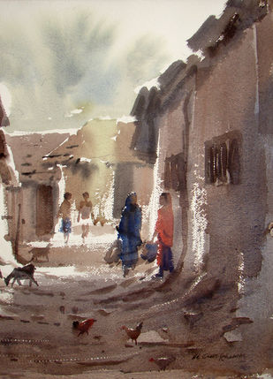 Morning Light by Jiaur Rahman, Impressionism Painting, Watercolor on Paper, Ferra color