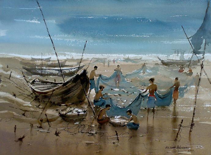 Fishing Digital Print by Jiaur Rahman,Impressionism