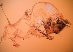 Bull 253 by Saumya Bandyopadhyay, Expressionism Painting, Dry Pastel on Paper, Big Foot Feet color