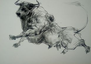 Bull 255 by Saumya Bandyopadhyay, Expressionism Painting, Pastel on Paper, Bud color