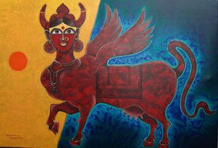 KAMADHENU by Ramana Peram , Expressionism Painting, Mixed Media on Canvas, Golden Grass color