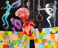 War between the Heart and Mind by SAKSHI CHOKHANI, Fantasy Painting, Acrylic on Canvas, Thunder color