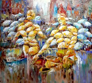 Saviour by Sanjay Chakraborty, Impressionism Painting, Oil on Canvas, Cement color
