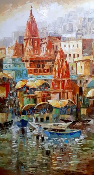 Glimpse of Banaras by Sanjay Chakraborty, Impressionism Painting, Acrylic on Canvas, Shadow color