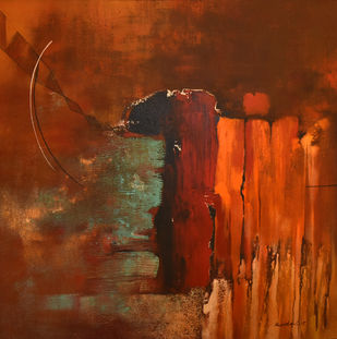 Poetics of Emotions LXVII by Kandan G, Abstract Painting, Acrylic on Board, Copper Canyon color