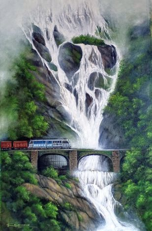 Water fall by Kumar Ranadive, Impressionism Painting, Oil on Canvas, Mineral Green color