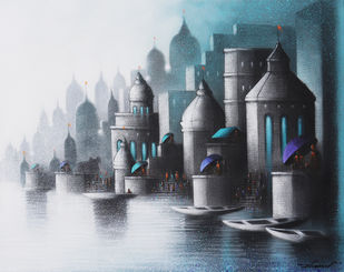 Holy Banaras by Somnath Bothe, Expressionism Painting, Charcoal on Canvas, Outer Space color