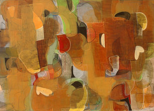 Untitled by Vipin Singh Rajput, Abstract Painting, Acrylic on Canvas, Copper color