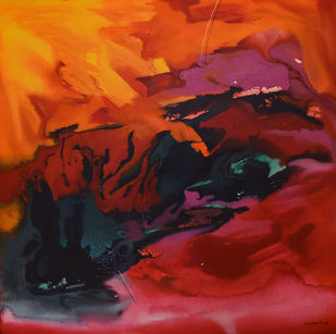 Poetics of Emotions LXXI by Kandan G, Abstract Painting, Acrylic on Board, Thunder color