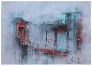 morning by Ravi Kumar A S, Abstract Painting, Acrylic on Paper, Gull Gray color