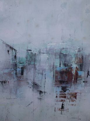 morning mist by Ravi Kumar A S, Abstract Painting, Acrylic on Canvas, Regent Gray color
