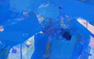 Untitled by Hukum Lal Varma, Abstract Painting, Acrylic on Canvas, Navy Blue color