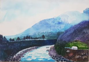 Riverine by Sunandini Shankaran Balan, Impressionism Painting, Watercolor on Paper, Iron color