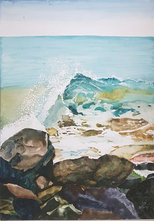 A Wave by Sunandini Shankaran Balan, Impressionism Painting, Watercolor on Paper, Cape Cod color